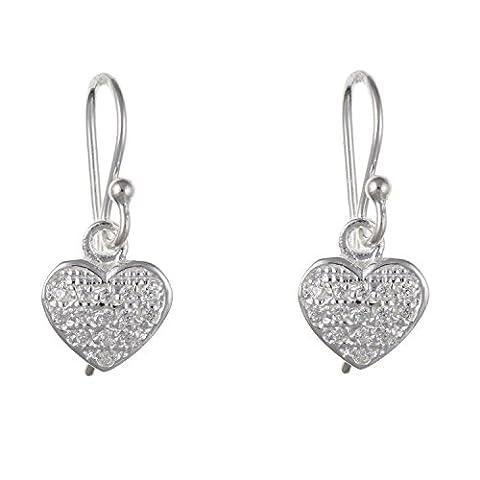 Weiß/Transparent Sparkling Micro Pavé Zirkonia (CZ) Herz Baumelnden Drop Ohrringe–925Sterling Silber–Lieferung erfolgt in Geschenkbox oder Geschenkbeutel