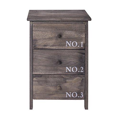 Mobili rebecca® cassettiera comodino 3 cassetti legno grigio shabby vintage bagno camera da letto (cod. re4191)