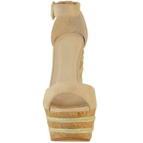 donna tacco alto plateau zeppa sandali estivi Espadrillas PARTY MISURA UK Pelle Camoscio Sintetico