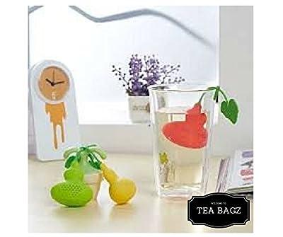 TEA-BAGZ/ Lot de 2 Infuseurs de Thé en forme de Fruit Coing /Idéal pour une Infusion Bio/Tisane/Thé vert/ Thé noir/ Accessoires Home et Cuisine/ Diffuseur à Thé Original/ Diffuseur à Thé de Haute Qualité / Diffuseur de thé 100% silicone/ Infuseur à Thé en