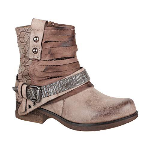 Elara Mujer Biker Boots | Metallic Prints Hebillas | Aspecto de Piel Remaches Botines | Forrado, Color Beige, Talla 36 EU