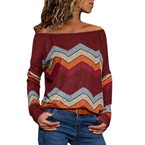 Oberteile Damen Gestreifte Druck Bluse Farbblock Langarm Tunika Damen Dehnbare Basic Tshirts Damen Freizeit Tunika Bunt Long Shirts Damen Sommer Herbst (Rot, 40) ()