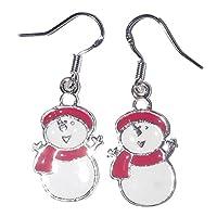 Frosty Snowman Christmas Sterling Silver Dangly Earrings Jewellery UK Seller