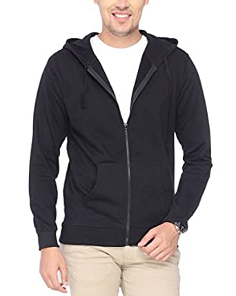 Campus Sutra Black Zipped Men Hooded Sweatshirt