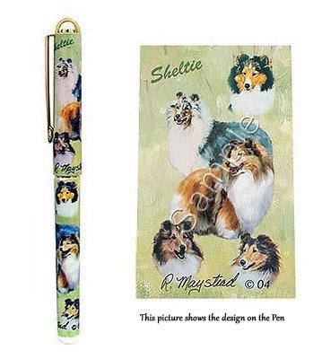 Shetland Sheepdog (Sheltie / Collie) Gift. Beautiful Rollerball Pen with black velvet pen pouch.