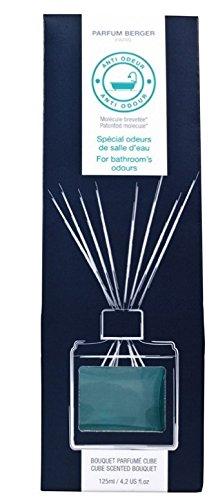 LAMPE BERGER Anti Gerüche Würfel-Parfum-Bouquet, Durchsichtiges türkisblau lackiertes Glas, 7,5 x 7 x 23 cm -
