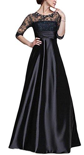 YOGLY Damen Kleid Lace Blume Spitze Stickerei Rundhals 3/4 Arm Festliches Langes Chiffonkleid Cocktailkleid Maxikleid Abendkleid Schwarz