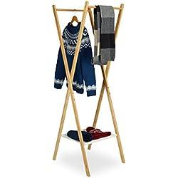 Relaxdays Perchero de Ropa Plegable Madera Bambú 2varillas ropa compartimento en tela HxBxT: 156x 50x 50cm, naturaleza
