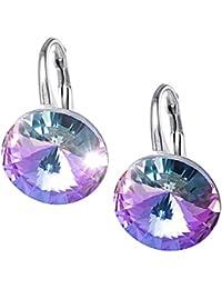 LillyMarie Damen Silber-Ohrringe Echt Silber Mehrfarbig Lila Original  Swarovski Elements Rund Geschenkverpackung Danke Geschenke 1447282c04