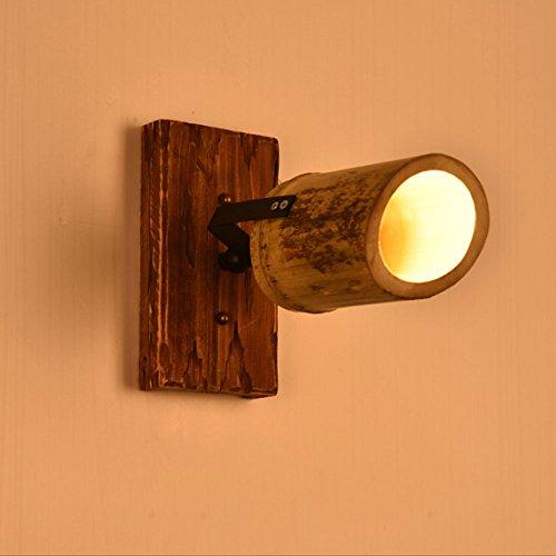 Retro Industrial Wind Bambus Wandleuchte verstellbare Bar Cafe Massivholz Spot Licht (größe : Single) -