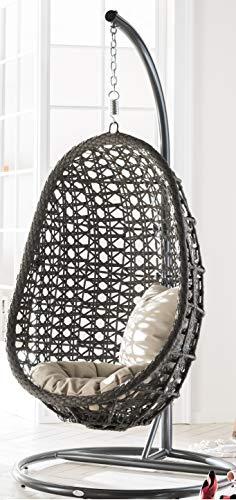 """Destiny - poltrona sospesa """"coco"""", in plastica, colore: grigio, inclusicuscini di seduta e schienale, 1 sedia grigia scura"""