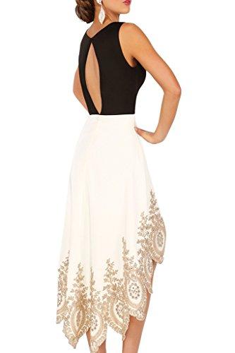Charmant Damen 2016 neu Hi-lo Chiffon Abendkleider Ballkleider Partykleider mit schoenen Spitze Lang Beige