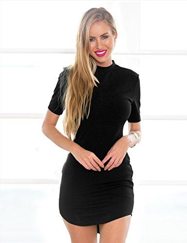 LookbookStore Damen Figurbetontes Minikleid mit halblangen Ärmeln Einfarbig Schwarz