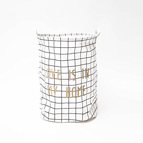 DWW-Panier de rangement Panier à linge imperméable à l'eau de stockage de coton simple seau pliable grand imperméable à l'eau ( Couleur : Blanc )