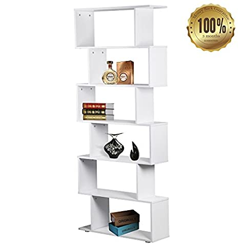 6 Tier Creative Shelf Compact Display with Modern Finish for Storage Bookcase and Exhibition - White