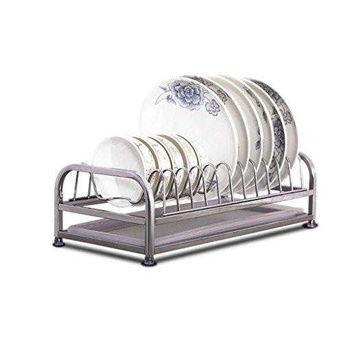 &étagère de rangement Porte-vaisselle, cuisinière en acier inoxydable étagère étagère étagère de vidange panier de drainage assiette à une seule couche plateau en cuvette 42 * 20 * 12cm Rack de finiti