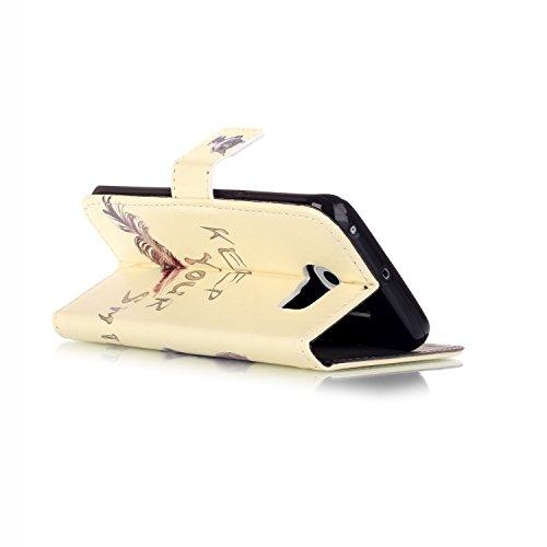 Coque Galaxy S6, Etui pour Samsung Galaxy S6, ISAKEN Peinture Style Soulagement de la couleur PU Cuir Flip Magnétique Portefeuille Etui Housse de Protection Coque Étui Case Cover avec Stand Support et Chat Sourire