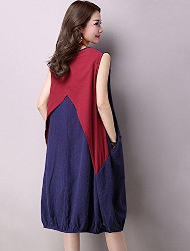 MatchLife Femme Splice Sans Manche Robe Bleu