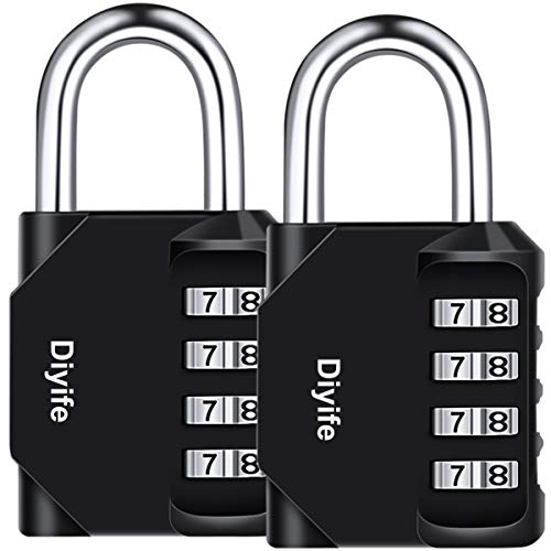 Diyife 2er Pack 4-Stelliges Zahlenschloss, Kombinationsschloss, Vorhängeschloss, Wetterfestes Metall & Plated Steel Combination Lock für Schule, Gym & Sports Locker, Hasp Cabinet & Storage (Passwort ändern)