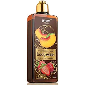 WOW Skin Science Strawberry & Peach Foaming Body Wash - No Parabens, Sulphate, Silicones & Color, 250 ml