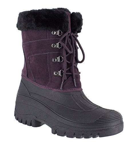 Fenside Country Clothing Ladies Premium Lace Up Thermal Winter Boots for Walking Stable Work - Faux Fur Top Lined & Anti Slip