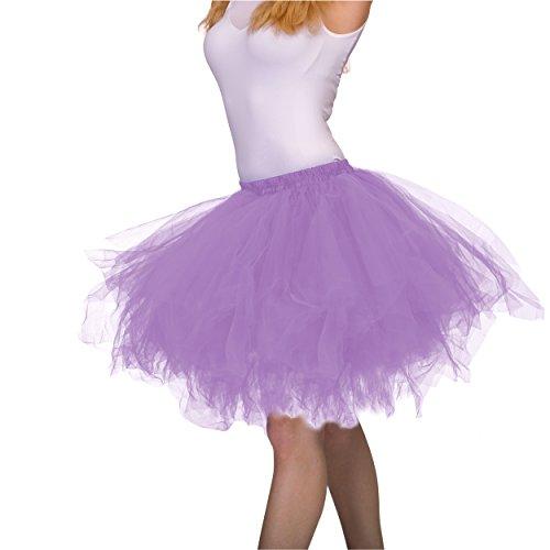 Rabatt Lager Kostüm - Dancina Damen Petticoat 50er Jahre Vintage Tutu Tüllrock [Sticker XXL] Lavendel Gr. 42-46