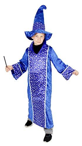 Foxxeo Blaues Zauberer Kostüm für Kinder Karneval Fasching Magier Merlin Party Jungen Mädchen Größe 134-140