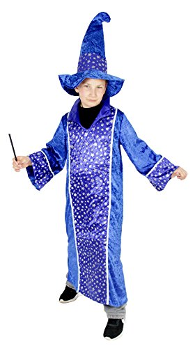 Foxxeo 40179 | Zauberer Merlin Kostüm für Kinder Karneval Fasching Magier Kinderkostüm Zaubererkostüm Party blau Gr. 110 - 152, (Magier Kind Kostüm)