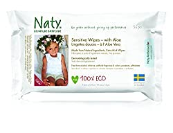 (Pack of 12) : Naty by Nature Babycare Sensitive Wipes With Aloe 390g (Pack of 12)