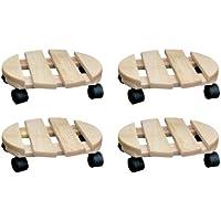 SIDCO - Lote de 4 bases con ruedas para macetas (madera, 30cm), diseño redondo