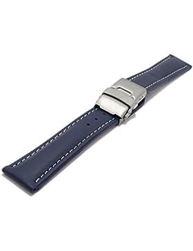 Meyhofer Uhrenarmband Milas 22mm dunkelblau Leder glatt helle Naht Titan-Faltschließe MyHekslb88/22mm/dblau/hN...