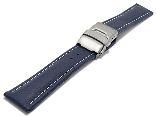 Meyhofer Uhrenarmband Milas 20mm dunkelblau Leder glatt helle Naht Titan-Faltschließe MyHekslb88/20mm/dblau/hN/TiFS (20mm Uhrenarmband Titan)