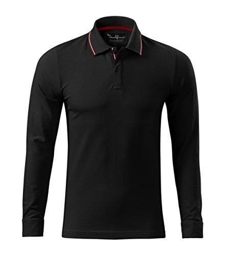 Langarm-Polo-Shirt f. Herren mit Kontraststreifen Quality Polohemd Black
