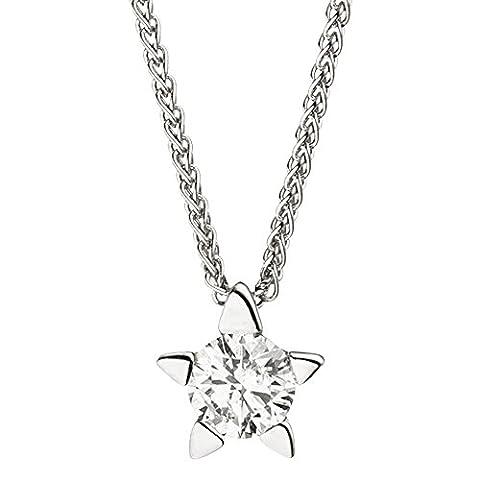 JOBO Collier Kette mit Anhänger Stern 585 Gold Weißgold 1 Diamant Brillant 42 cm