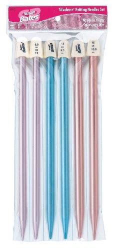 Susan Bates 'Silvalume 10Knitting Needles Gift Heft Oberteil Set-3Pair -