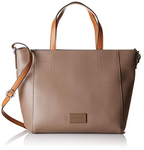 comma Damen Beautiful Smile Handbag Mhz Henkeltasche, Braun (Taupe), 13x27x38 cm