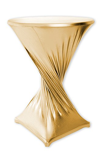Stehtischhusse Stretch in GOLD METALLIC imprägniert wasserabweisend 80 cm Stehtisch abwaschbar elastisch