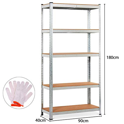 Yaheetech scaffale mensola metallo zincato a 5 ripiani regolabili da garage cucina 90 x 40 x 180 cm