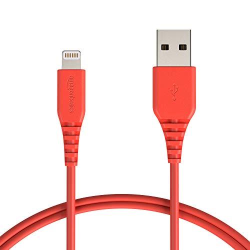 AmazonBasics - Cavo compatibile da USB A a Lightning - Certificato Apple MFi - Rosso, 0,9 m
