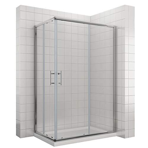 1200x700x1950mm Duschkabine Eckeinstieg Doppel Schiebetür Echtglas Duschwand