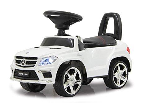 Jamara 460241 - Rutscher Mercedes GL63AMG weiß - Kippschutz, Kunstledersitz mit roten Ziernähten, Kofferraum unter der Sitzfläche, Rückenlehne, Scheinwerfer vorne / hinten, Motorsound, Hupe, Musik