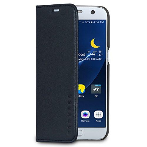 """Étui à rabat en cuir KANVASA """"Pro"""" pour Galaxy S7 noir - Coque portefeuille e..."""