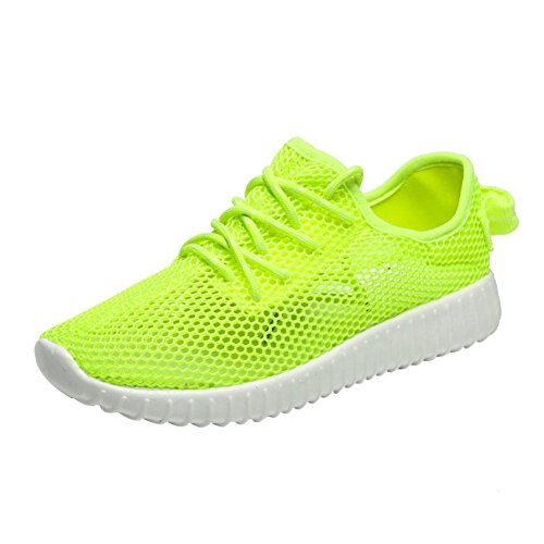 Zarupeng Mesh Low-Cut Flache Damenschuhe, Frauen Hohlnetz Breathable Lace-up Casual Sportschuhe Sport Turnschuhe Rutschfeste Sommerschuhe (38 EU, Grün)