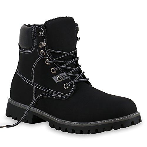 Gefütterte Herren Outdoor Worker Boots Schnürstiefel Profilsohle Schwarz Grau
