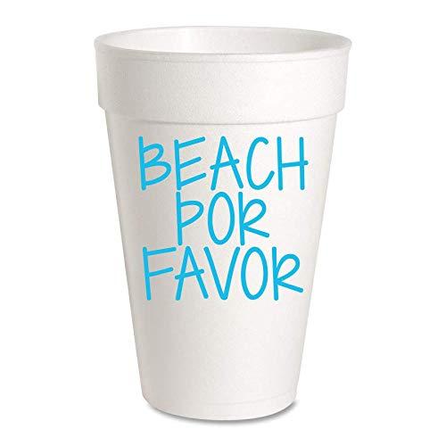 Beach Por Favor Summer Partybecher - Styropor, 454 ml, 10 Stück