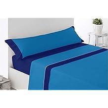 Juego de Sábana - 150cm - Azul - bicolor - tacto seda - microfibra
