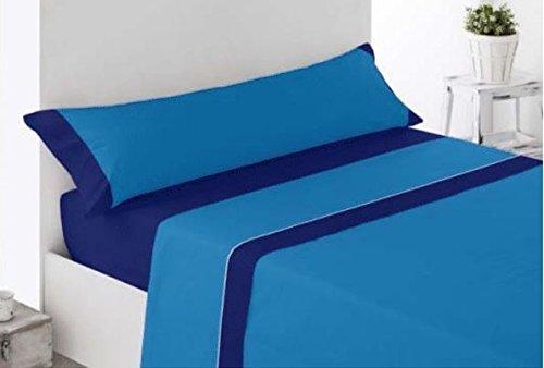 Juego de Sábana - 90cm - Azul - bicolor - tacto seda - microfibra