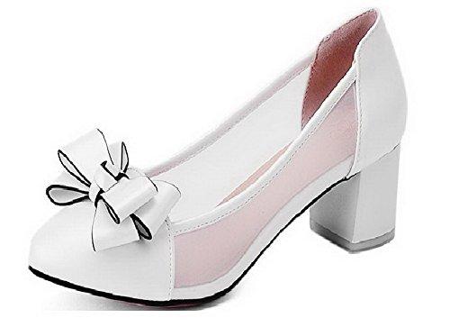 VogueZone009 Damen Mittler Absatz Rund Zehe Blend-Materialien Rein Ziehen Auf Pumps Schuhe Weiß