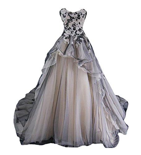 O.D.W Gotisch Lange Frauen Formales Brautkleider Vintage Hochzeitskleider(Schwarz+Weisse, 44)