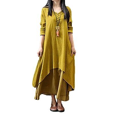 Romacci Women Boho Dress Casual Irregular Maxi Dresses Vintage Loose Long Sleeve Cotton Viscose Dress,S-5XL
